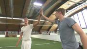 Timur Bartels und Damian Hardung beim Fußballtraining